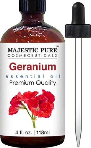 Bottle of geranium oil with dropper