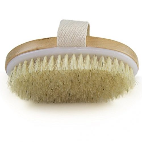 Handheld body brush for skin brushing