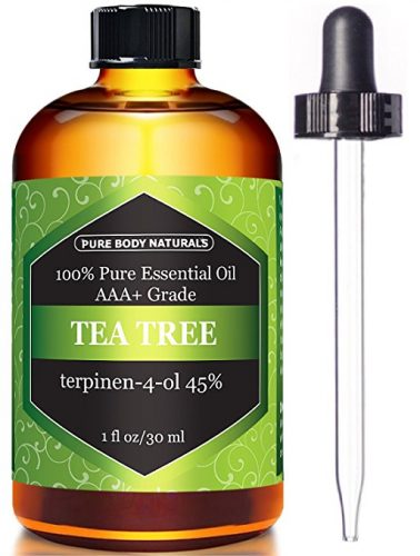 Bottle of tea tree oil and dropper